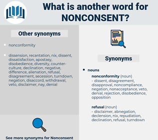 nonconsent, synonym nonconsent, another word for nonconsent, words like nonconsent, thesaurus nonconsent
