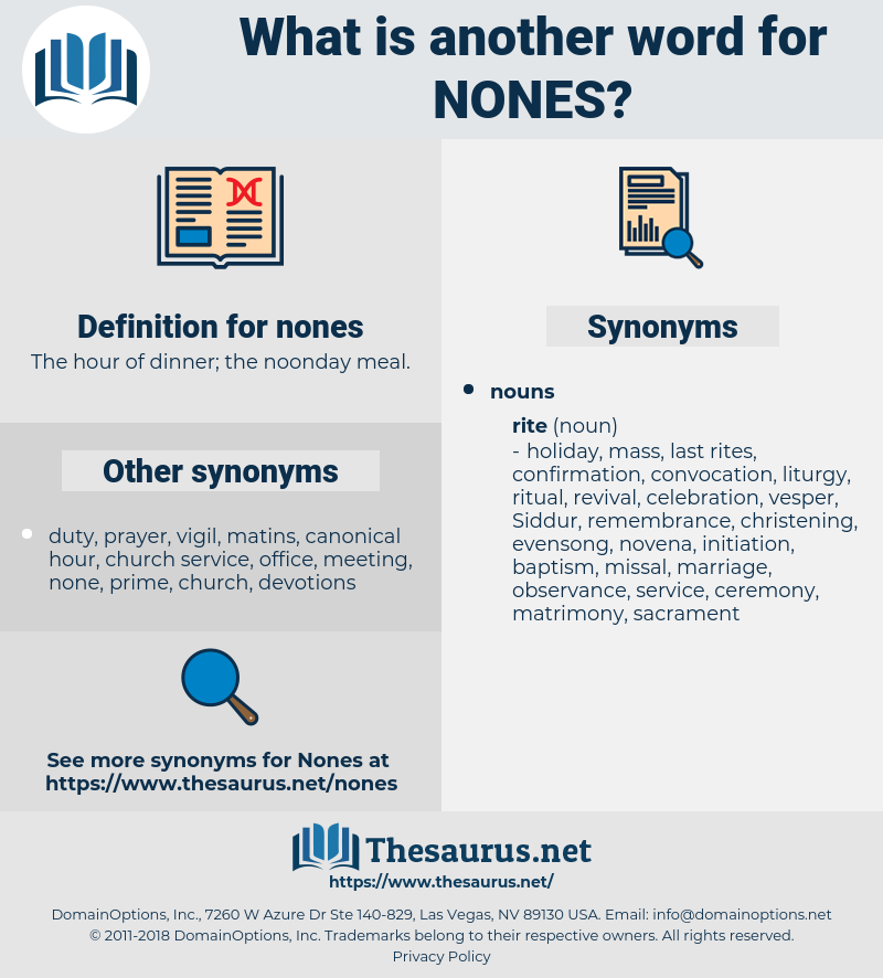 nones, synonym nones, another word for nones, words like nones, thesaurus nones