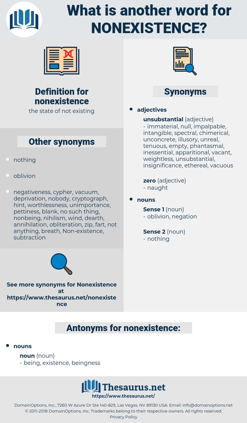 nonexistence, synonym nonexistence, another word for nonexistence, words like nonexistence, thesaurus nonexistence