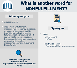 Nonfulfillment, synonym Nonfulfillment, another word for Nonfulfillment, words like Nonfulfillment, thesaurus Nonfulfillment