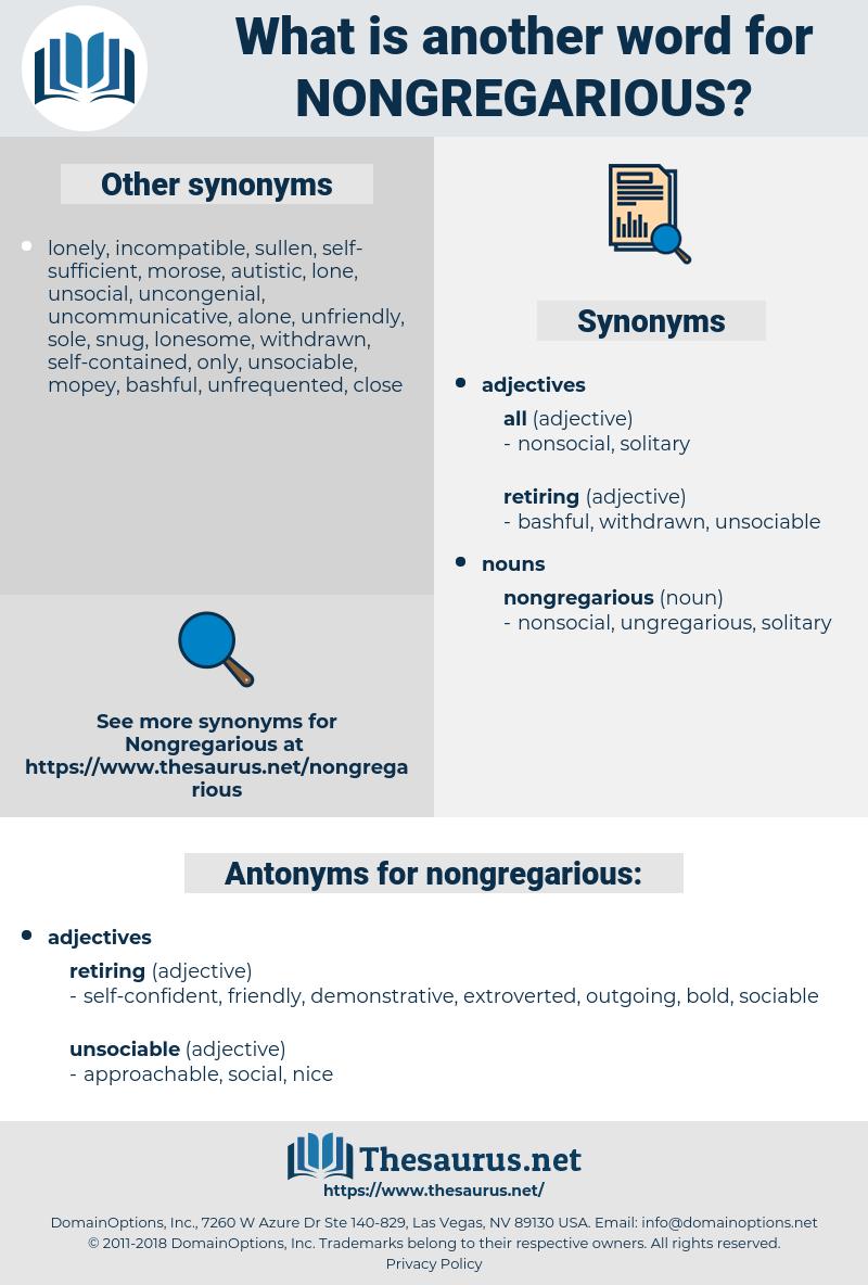 nongregarious, synonym nongregarious, another word for nongregarious, words like nongregarious, thesaurus nongregarious