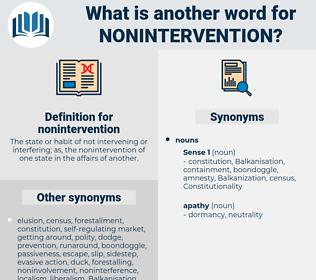nonintervention, synonym nonintervention, another word for nonintervention, words like nonintervention, thesaurus nonintervention