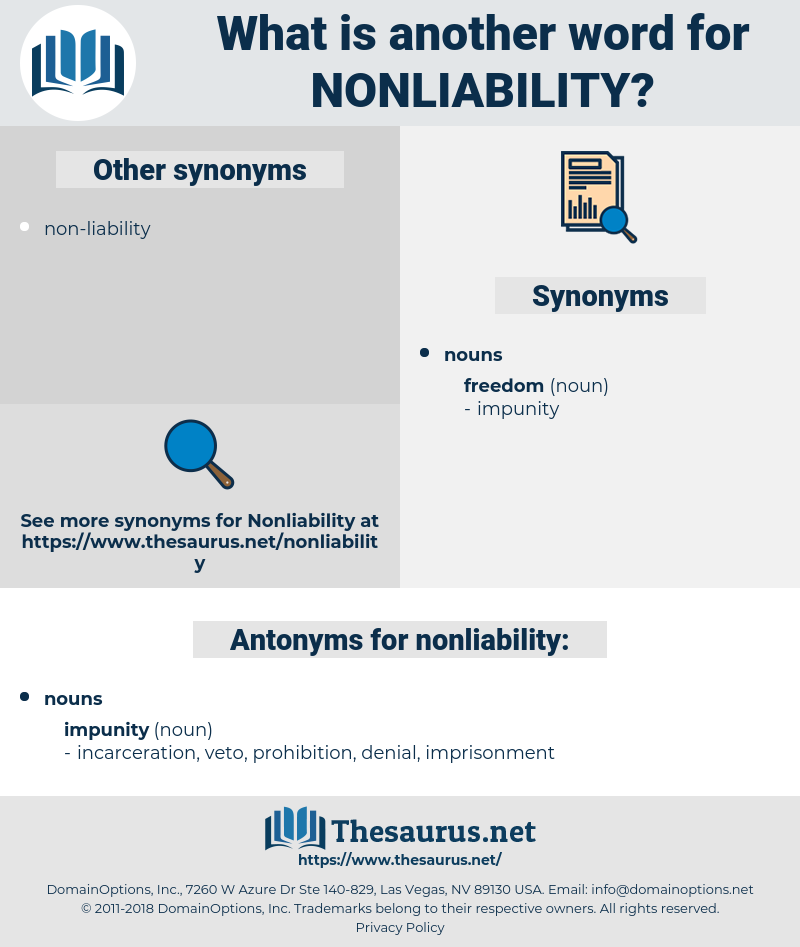 nonliability, synonym nonliability, another word for nonliability, words like nonliability, thesaurus nonliability