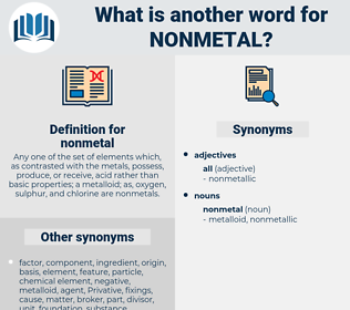 nonmetal, synonym nonmetal, another word for nonmetal, words like nonmetal, thesaurus nonmetal