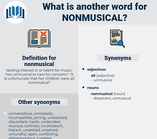nonmusical, synonym nonmusical, another word for nonmusical, words like nonmusical, thesaurus nonmusical