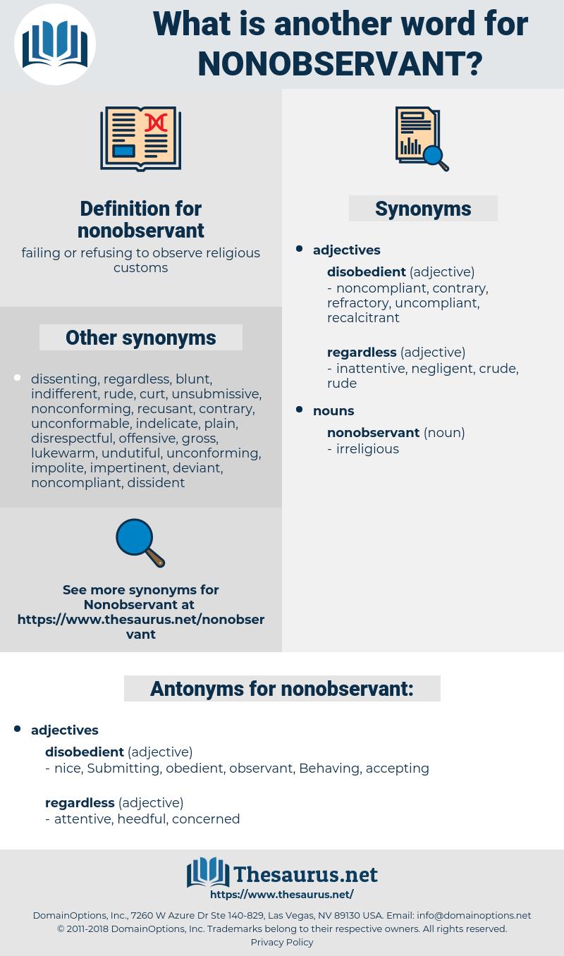 nonobservant, synonym nonobservant, another word for nonobservant, words like nonobservant, thesaurus nonobservant