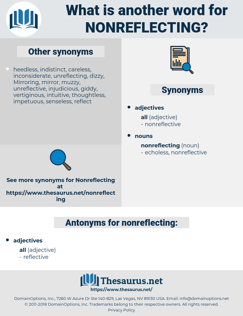 nonreflecting, synonym nonreflecting, another word for nonreflecting, words like nonreflecting, thesaurus nonreflecting
