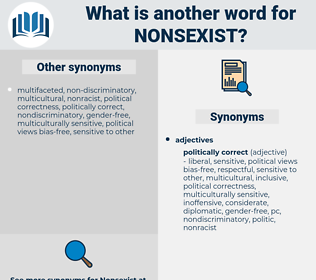 nonsexist, synonym nonsexist, another word for nonsexist, words like nonsexist, thesaurus nonsexist