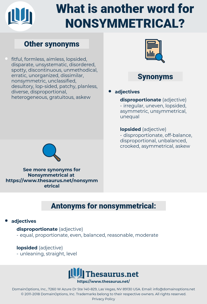 nonsymmetrical, synonym nonsymmetrical, another word for nonsymmetrical, words like nonsymmetrical, thesaurus nonsymmetrical