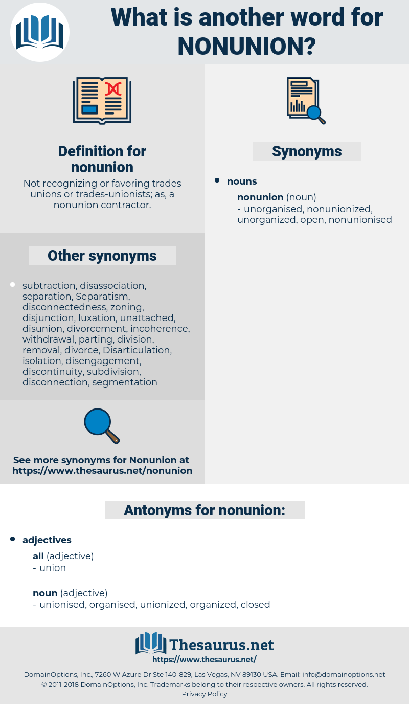 nonunion, synonym nonunion, another word for nonunion, words like nonunion, thesaurus nonunion