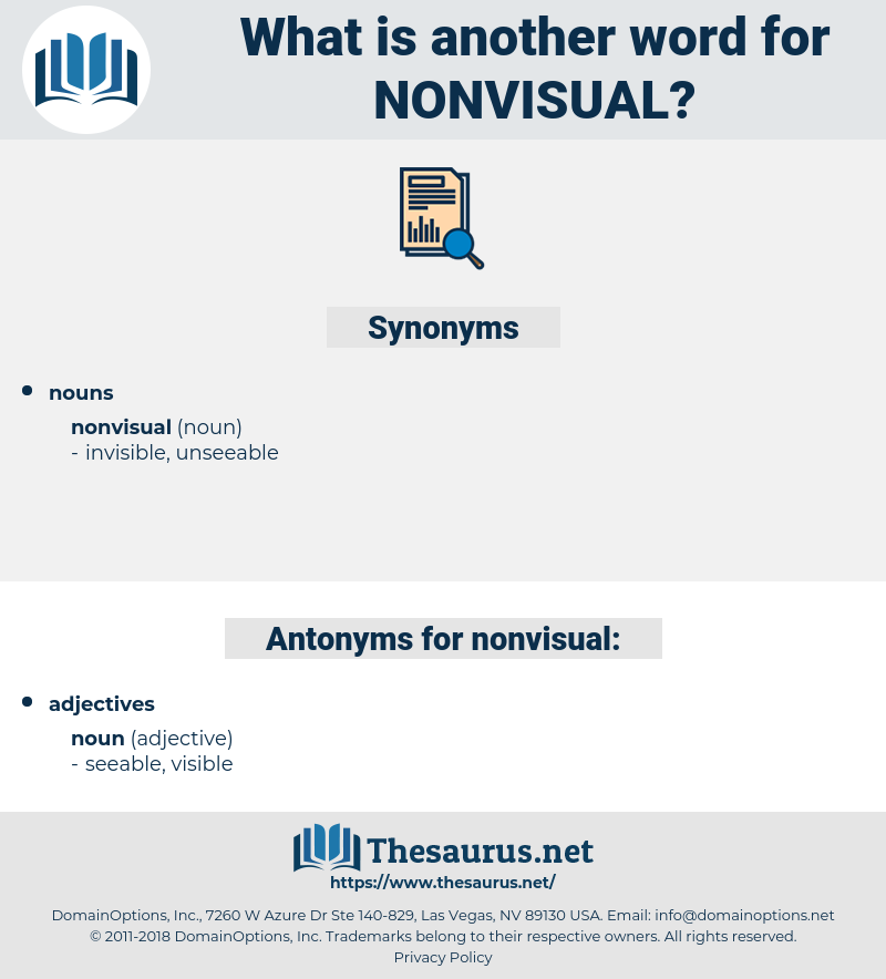 Synonyms For NONVISUAL, Antonyms For NONVISUAL