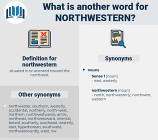 northwestern, synonym northwestern, another word for northwestern, words like northwestern, thesaurus northwestern