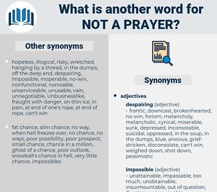not a prayer, synonym not a prayer, another word for not a prayer, words like not a prayer, thesaurus not a prayer