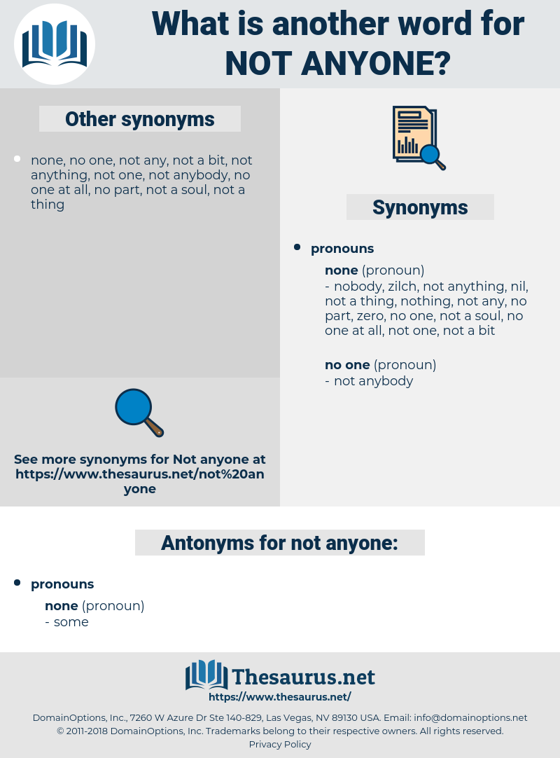 not anyone, synonym not anyone, another word for not anyone, words like not anyone, thesaurus not anyone