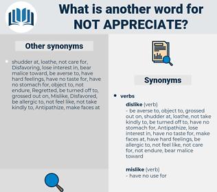 not appreciate, synonym not appreciate, another word for not appreciate, words like not appreciate, thesaurus not appreciate