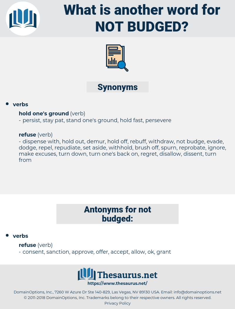 not budged, synonym not budged, another word for not budged, words like not budged, thesaurus not budged