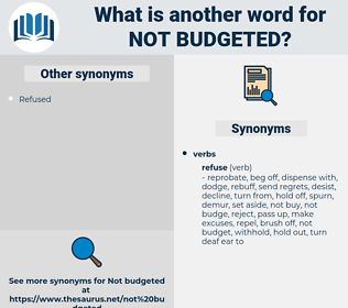 not budgeted, synonym not budgeted, another word for not budgeted, words like not budgeted, thesaurus not budgeted
