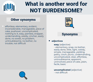 not burdensome, synonym not burdensome, another word for not burdensome, words like not burdensome, thesaurus not burdensome