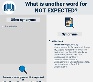 not expected, synonym not expected, another word for not expected, words like not expected, thesaurus not expected