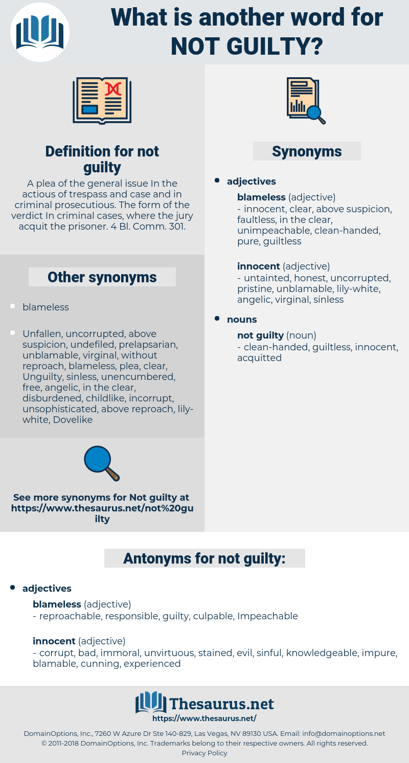 not guilty, synonym not guilty, another word for not guilty, words like not guilty, thesaurus not guilty