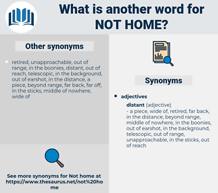 not home, synonym not home, another word for not home, words like not home, thesaurus not home