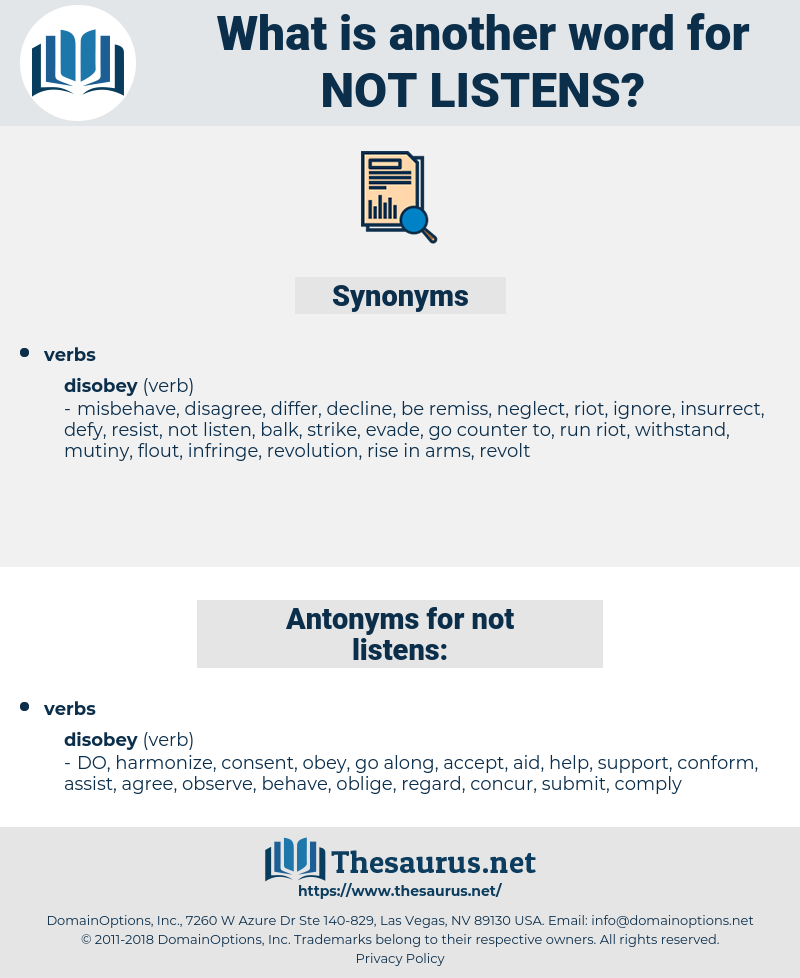 not listens, synonym not listens, another word for not listens, words like not listens, thesaurus not listens