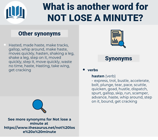 not lose a minute, synonym not lose a minute, another word for not lose a minute, words like not lose a minute, thesaurus not lose a minute