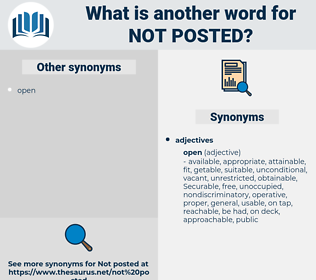 not posted, synonym not posted, another word for not posted, words like not posted, thesaurus not posted