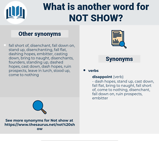 not show, synonym not show, another word for not show, words like not show, thesaurus not show
