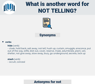 not telling, synonym not telling, another word for not telling, words like not telling, thesaurus not telling