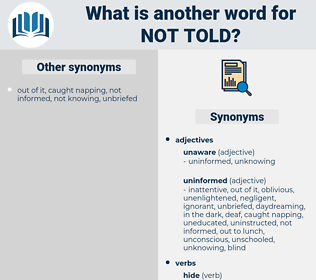 not told, synonym not told, another word for not told, words like not told, thesaurus not told