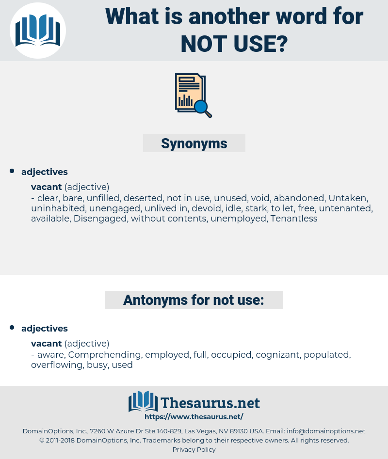 not use, synonym not use, another word for not use, words like not use, thesaurus not use
