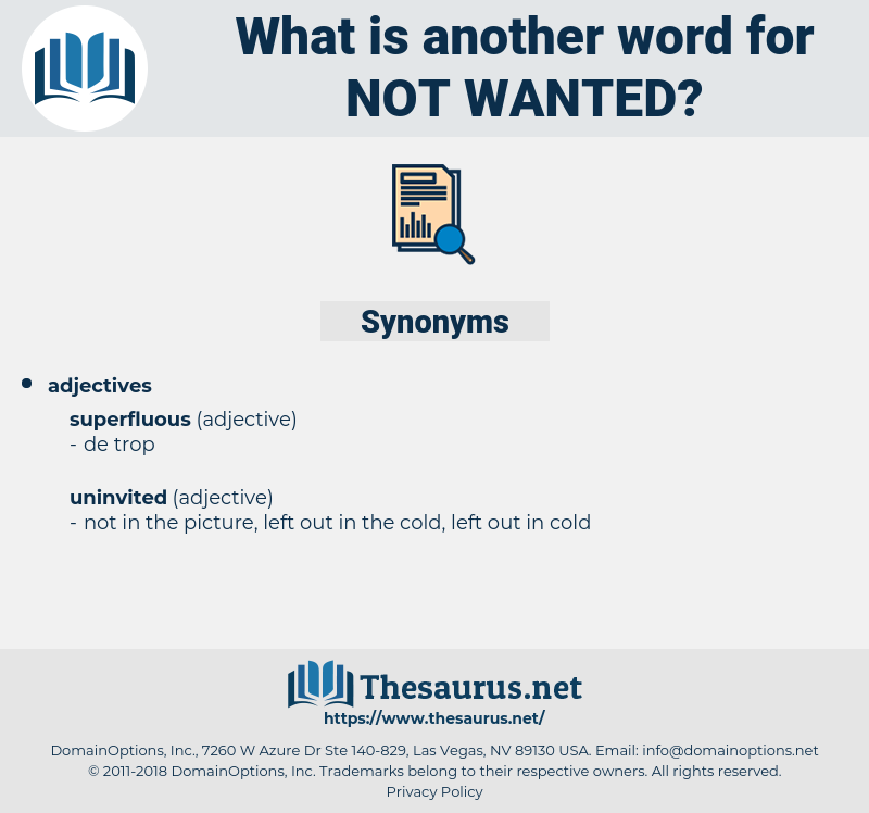 not wanted, synonym not wanted, another word for not wanted, words like not wanted, thesaurus not wanted