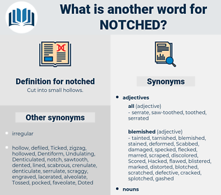 notched, synonym notched, another word for notched, words like notched, thesaurus notched
