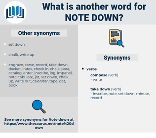 note down, synonym note down, another word for note down, words like note down, thesaurus note down