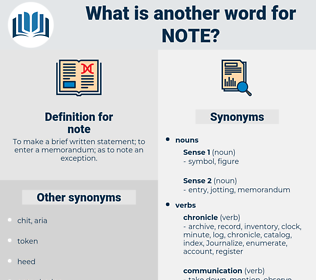 note, synonym note, another word for note, words like note, thesaurus note