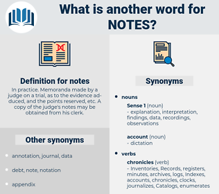 notes, synonym notes, another word for notes, words like notes, thesaurus notes