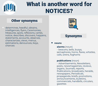 notices, synonym notices, another word for notices, words like notices, thesaurus notices