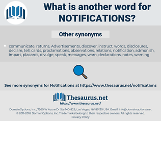 notifications, synonym notifications, another word for notifications, words like notifications, thesaurus notifications