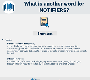 notifiers, synonym notifiers, another word for notifiers, words like notifiers, thesaurus notifiers