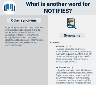 notifies, synonym notifies, another word for notifies, words like notifies, thesaurus notifies