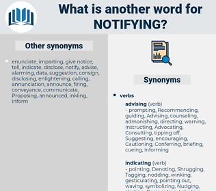 Notifying, synonym Notifying, another word for Notifying, words like Notifying, thesaurus Notifying