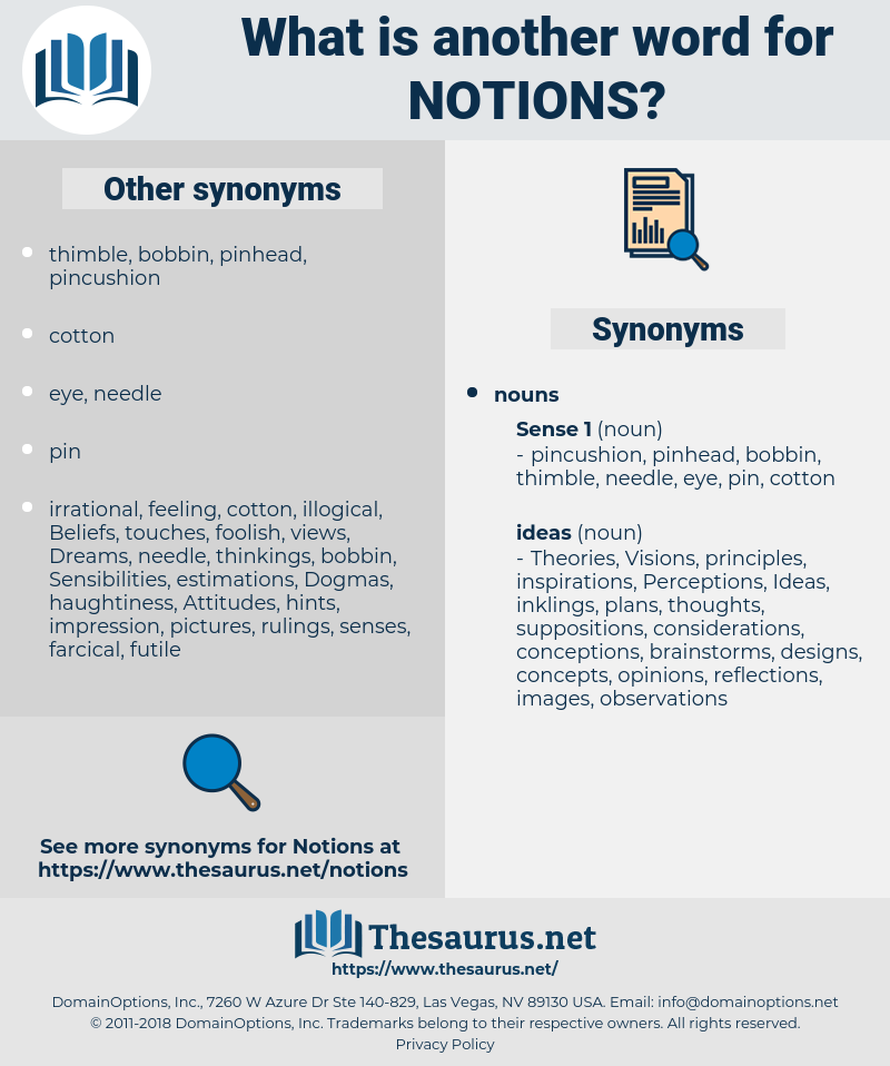 notions, synonym notions, another word for notions, words like notions, thesaurus notions