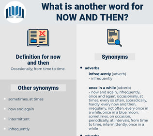 now and then, synonym now and then, another word for now and then, words like now and then, thesaurus now and then