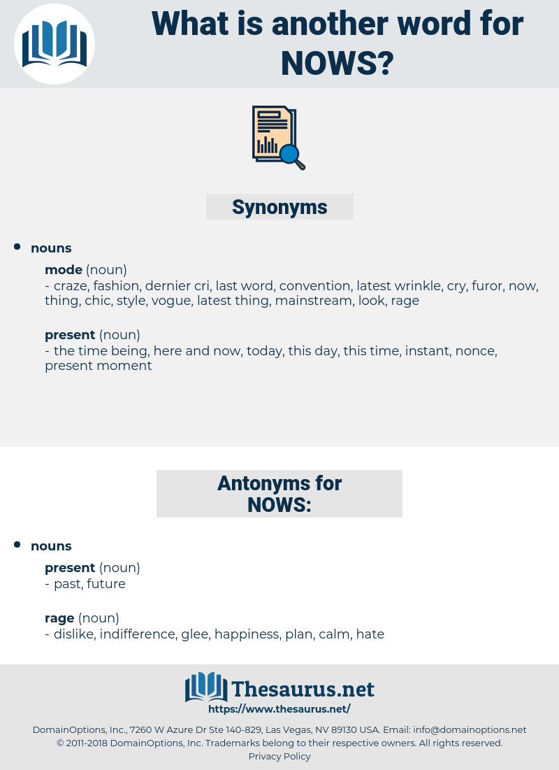NOWS, synonym NOWS, another word for NOWS, words like NOWS, thesaurus NOWS