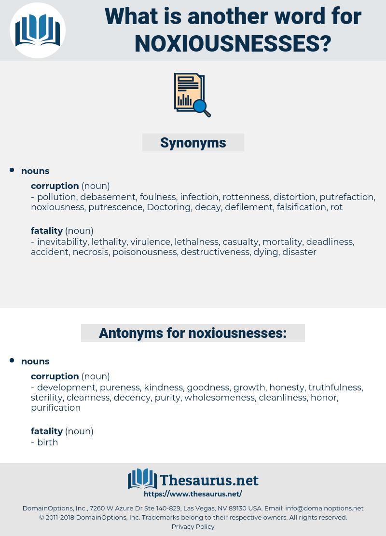 noxiousnesses, synonym noxiousnesses, another word for noxiousnesses, words like noxiousnesses, thesaurus noxiousnesses