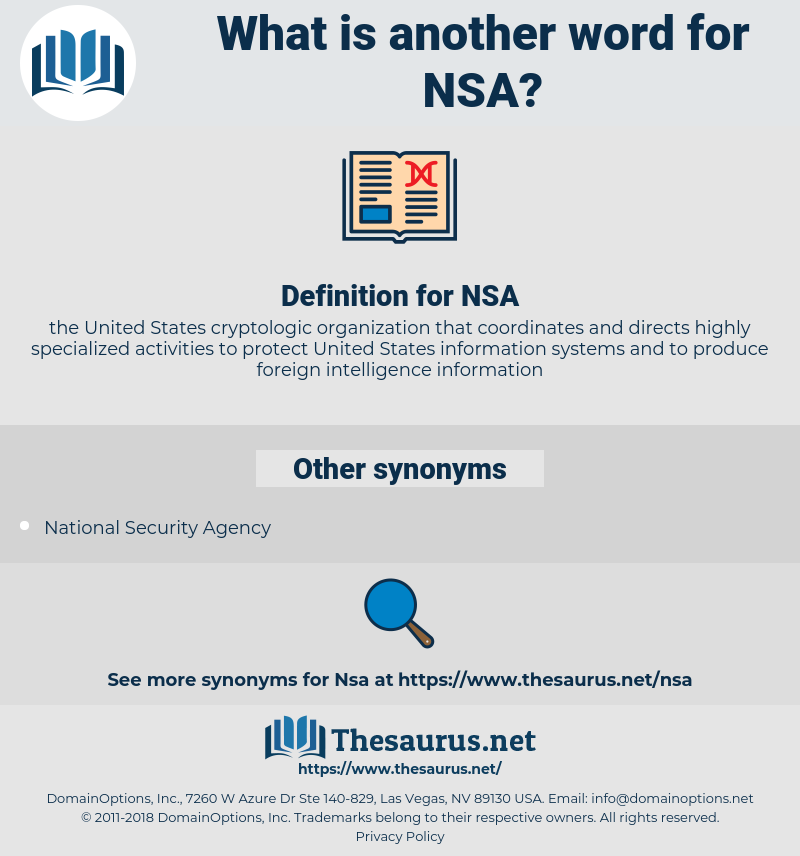 NSA, synonym NSA, another word for NSA, words like NSA, thesaurus NSA
