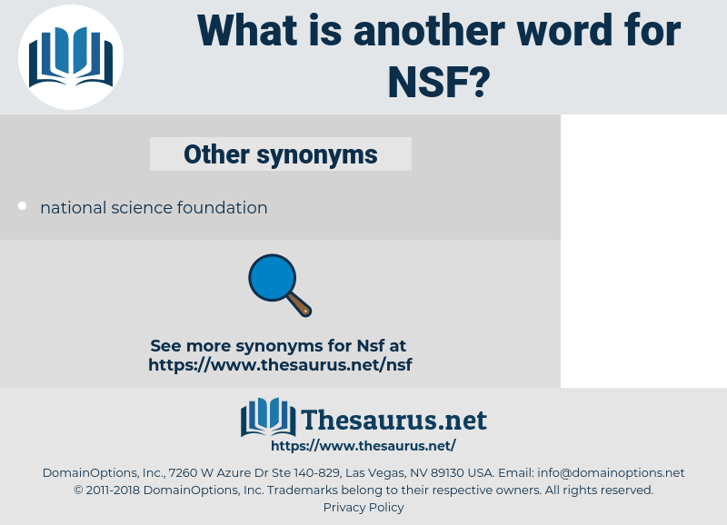 NSF, synonym NSF, another word for NSF, words like NSF, thesaurus NSF