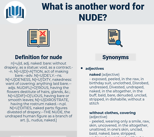 nude, synonym nude, another word for nude, words like nude, thesaurus nude