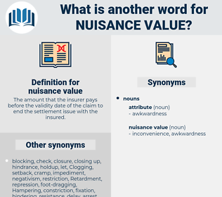 nuisance value, synonym nuisance value, another word for nuisance value, words like nuisance value, thesaurus nuisance value